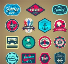 夏季度假标签矢量素材