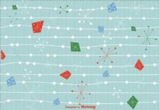 世纪中期圣诞背景矢量