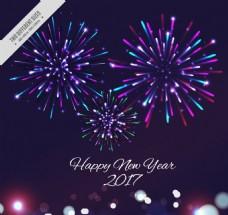 五颜六色的烟花新年的背景