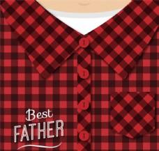 父亲节红格子衬衫贺卡矢量图