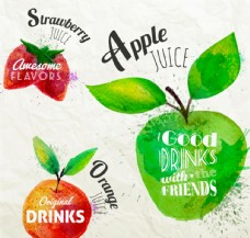 水彩果汁标签矢量素材