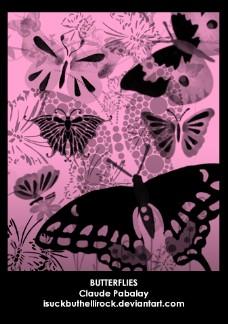 漂亮的蝴蝶花纹图案photoshop素材笔刷