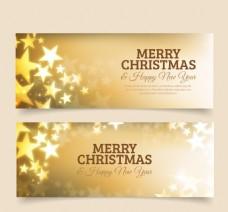 金色的横幅圣诞快乐与星星