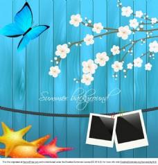 蓝色木板梅花矢量素材