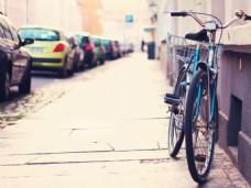街边的自行车淘宝背景