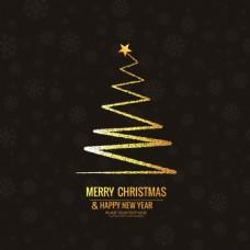 金色抽象圣诞树背景