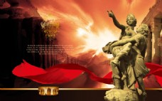 PSD 红色雕塑海报素材下载
