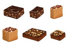 布朗尼蛋糕和巧克力载体