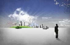 商业人物与建筑物素材图片