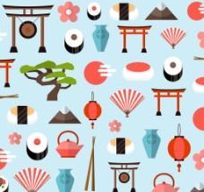 扁平日本元素背景