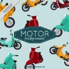复古的可爱背景的摩托车