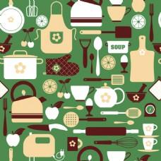绿色厨房元素背景