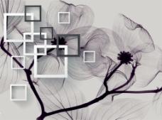 透明花朵背景墙