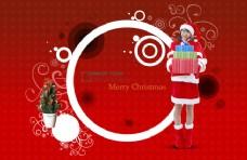 红色背景圣诞女生礼物PSD素材