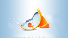 ps合成橘子水中的金鱼