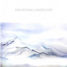 白色的景观与山水彩画