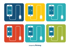 智能手机与电池充电器图标集
