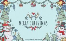 圣诞节元素的涂鸦背景