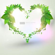 春天绿色树叶装饰背景矢量