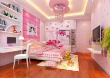 3D女生卧室效果图