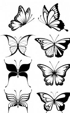 黑白蝴蝶图案矢量图