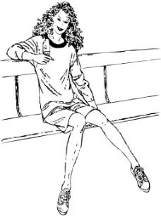 坐在椅子上的美女插画