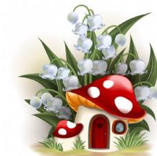 卡通铃铛花下的蘑菇屋