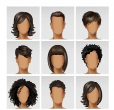头发美发矢量素材
