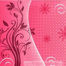 粉红色花卉图案背景海报图