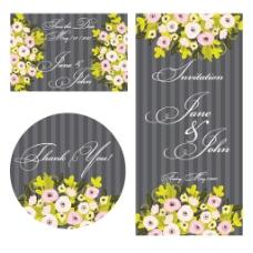 创意婚礼贺卡背景花朵矢量素材