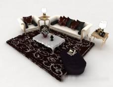 欧式花纹家居组合沙发3d模型下载