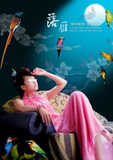 古典美女鹦鹉海报