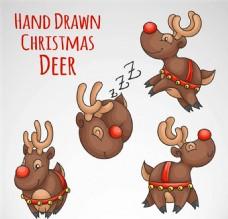 卡通圣诞驯鹿矢量