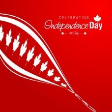 红色加拿大独立日背景随波