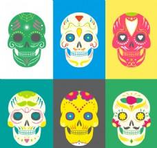 彩色糖头骨装饰收集