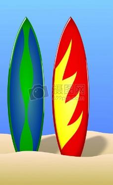 蓝天下的冲浪板