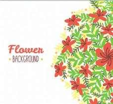 美丽的花与手工绘制的叶子的背景