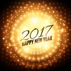 新年圆形背景灯