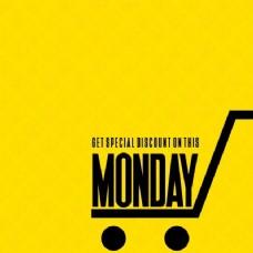 黄色背景,网络星期一,购物车