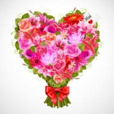 情人节里的一束鲜花背景图