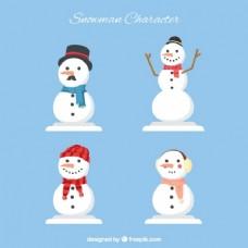 在几何式的微笑的雪人包