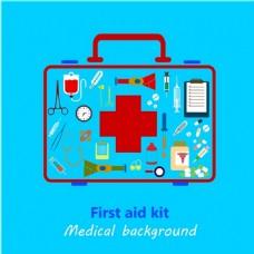 医学背景设计与颜色的急救箱