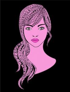紫色花纹美女图片