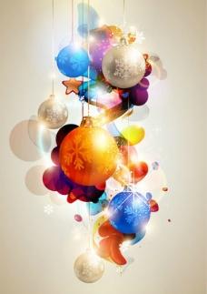 发光多彩的圣诞球背景