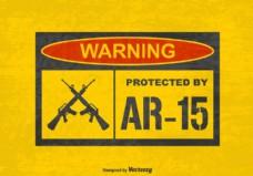 免费矢量垃圾警告标志保护AR15