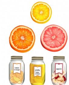 水果玻璃瓶 橙子切片