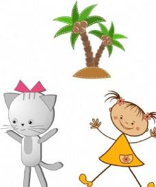 小猫 儿童 椰子树