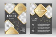 金色菱形折页传单图片