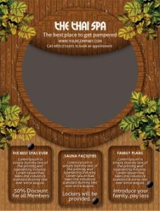 木板树叶背景海报传单设计图片