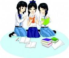 看书的卡通女孩漫画